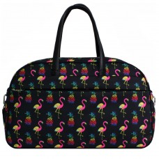 Дорожная женская сумка 34 л черная Розовый фламинго (DM00390664BL)