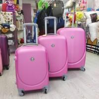 Набор дорожных розовых пластиковых чемоданов 3 в 1 - маленький, средний и большой (DM10052200BR)