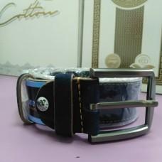 Молодежный синий замшевый кожаный ремень 4 см  (DM4129KR)