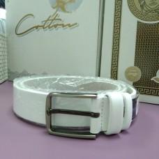 Белый кожаный ремень (DM4135KR)