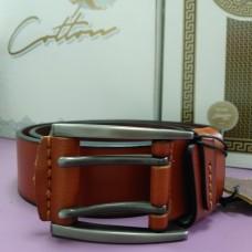 Коричневый рыжий кожаный ремень 4,5 см пряжка темная прямоугольная  (DM4136KR)