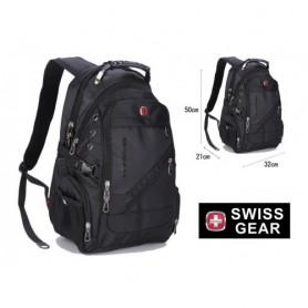 Рюкзак черный спортивный повседневный швейцарский Swiss Gear с кругами по бокам (DM43288-01IBCL)