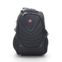 Большой рюкзак черный спортивный повседневный школьный для студентов для ноутбука с плавными линиями (DM88161CL)