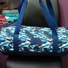 Сумка спортивная белая синяя стильная Синие пальмы бочонок (DM00300664BL)