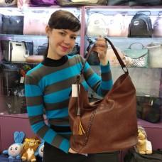 Женская сумка коричневая мягкая мешок средняя (DMBH90715CL)