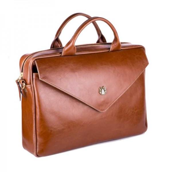 94a11b2344d7 Женская кожаная сумка для ноутбука коричневая (DMFl15SL) ...
