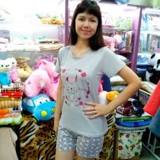 Пижама хлопковая серая с шортами женская Турция (DM2001MM)