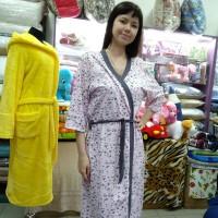 Комплект-двойка ночная рубашка с халатом хлопковая трикотажная серая розовая женская Турция (DM2002MM)