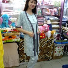 Комплект-тройка ночной, домашний - халат, футболка, брюки хлопковый трикотажный голубой женский Турция (DM200211MM)
