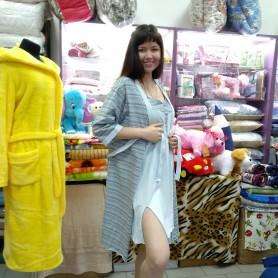 Комплект-двойка ночная рубашка с халатом хлопковая трикотажная голубая женская Турция (DM200221MM)