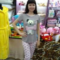 Комплект футболка с бриджами ночной хлопковый трикотажный серый розовый женский Турция Собака (DM2002331MM)