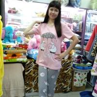 Комплект футболка с бриджами ночной хлопковый трикотажный серый розовый женский Турция Овечки  (DM20023314MM)