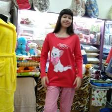 Пижама хлопковая красная с брюками женская Турция (DM2004MM)