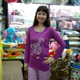 Пижама хлопковая фиолетовая с брюками женская Турция (DM2006MM)