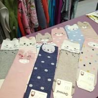 Разноцветные женские носки средние с Ушками, мордочки Мишек и Котиков  хлопок, размер 37-41  (DM220074121NS)
