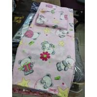 Комплект постельного белья детский в кроватку Панда розовый на резинке (DM1101407TT)