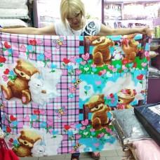 Постельное бельё детское зеленое коричневое розовое Мишки и Зайка для младенцев 110*140 хлопок на резинке (DM21531KR)