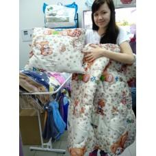 Одеяло детское бежевое коричневое силиконовое с Мишкой+ подушка 110*140 см  (DM2900KR)