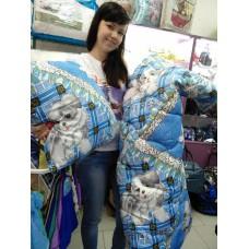 Одеяло детское голубое силиконовое с Собачкой + подушка 110*140 см  (DM2900KR)
