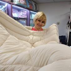 Одеяло полуторное светлое молочное лебяжий пух Кремовая нежность  (DM24253TT)