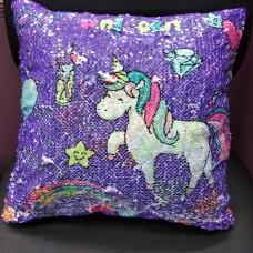 Подушка диванная декоративная с паетками Единорог Сова  (DM22007111KZ)