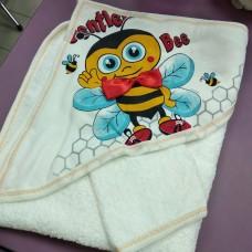 Полотенце уголок после купания Пчелка махра хлопок 80 х 80 см Турция  (DM204511OZ)