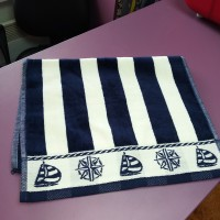 Кухонное полотенце салфетка велюр хлопок синее полоска Якорь 30 х 50 см (DM509048DM)