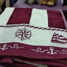 Полотенце для лица велюр хлопок бордо полоска мужское Якорь (DM509081DM)