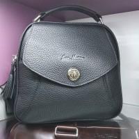 Женская сумка небольшая черная из натуральной кожи  (DM51905IH)
