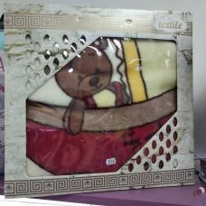 Плед детский бежевый теплый бежевый красный белый Мишка в коляске Турция  (DM201443OZ)