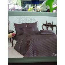 Постельное белье страйп-сатин темно-серое в полоску на молнии двуспальное евро (DM012113TT)