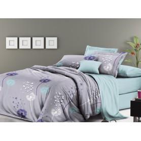 Постельное бельё двуспальное 180*220 сатин серое Разноцветные одуванчики - двуспальный комплект (DM11366KR)