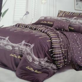 Постельное бельё двуспальное евро 200*220 сатинлюкс Ночной город цвет черный шоколад - двуспальный евро комплект (DM1137811KR)