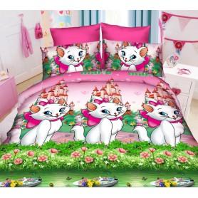 Постельное бельё детское для девочки розовое Кошечка Мари 150*220 хлопок (DM6856KR)