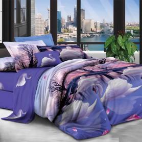 Постельное бельё двуспальное бязь 180*220 см синее Прекрасные лебеди - двуспальный комплект (DM9156KR)